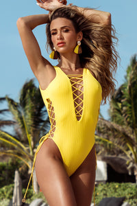 PLAYA VIBES - Open Side One Piece Bodysuit • Yellow