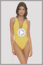 PLAYA VIBES - Open Side One Piece Bodysuit • Yellow Runway