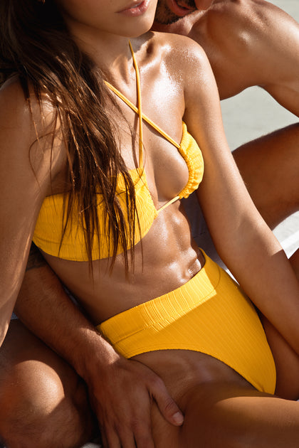 PLAYA VIBES - Bandeau Top & High Leg Banded Waist Bottom • Yellow