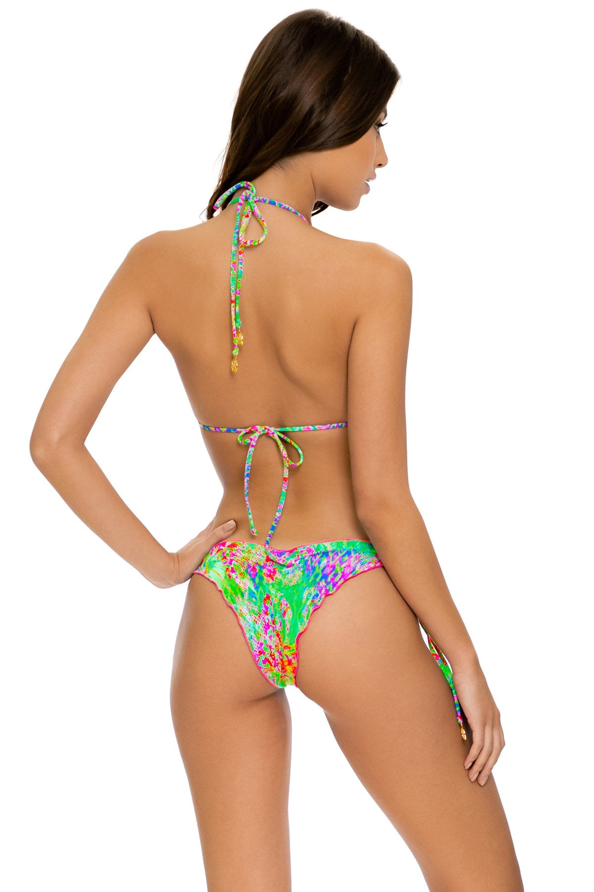 LEMONADE RUSH - Triangle Top & Wavey Ruched Back Tie Side Bottom • Multicolor