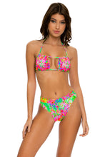 LEMONADE RUSH - Multiway Scrunched Cup Bandeau & High Leg Banded Waist Bottom • Multicolor