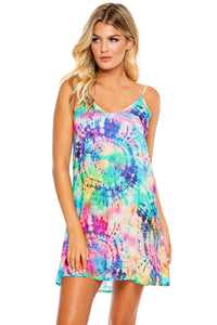 CELESTIAL DREAMS - Drawstring Neckline Cami Shift Dress • Multicolor