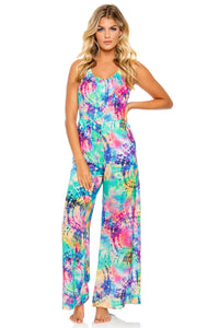 CELESTIAL DREAMS - Drawstring Neckline Wide Leg Jumpsuit • Multicolor