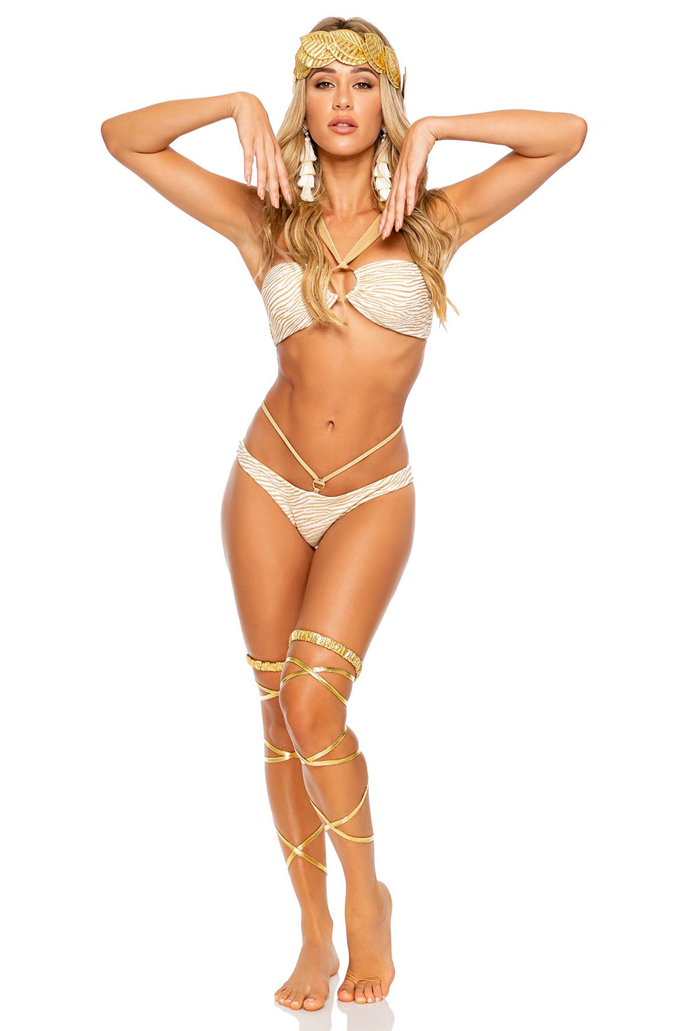 GODDESS ALLURE - Ring Bandeau & Strappy Ring Bottom • Gold Rush Halloween