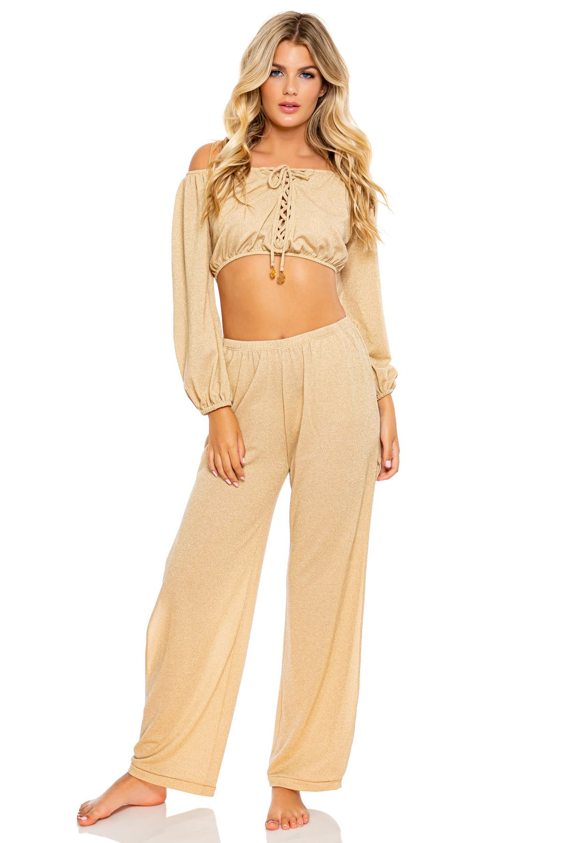 GODDESS ALLURE - Crop Top & Split Side Wide Leg Pant • Gold Rush