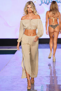 GODDESS ALLURE - Crop Top & Split Side Wide Leg Pant • Gold Rush Runway