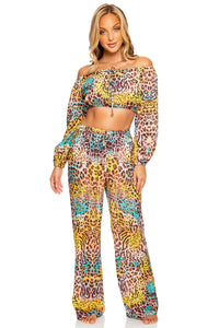 DIOSA SALVAJE - Crop Top & Flare Bottom Pants • Multicolor