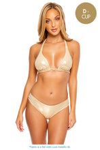 GOLD DIPPED - Triangle Halter Top & Seamless Full Ruched Back Bottom • Gold Rush