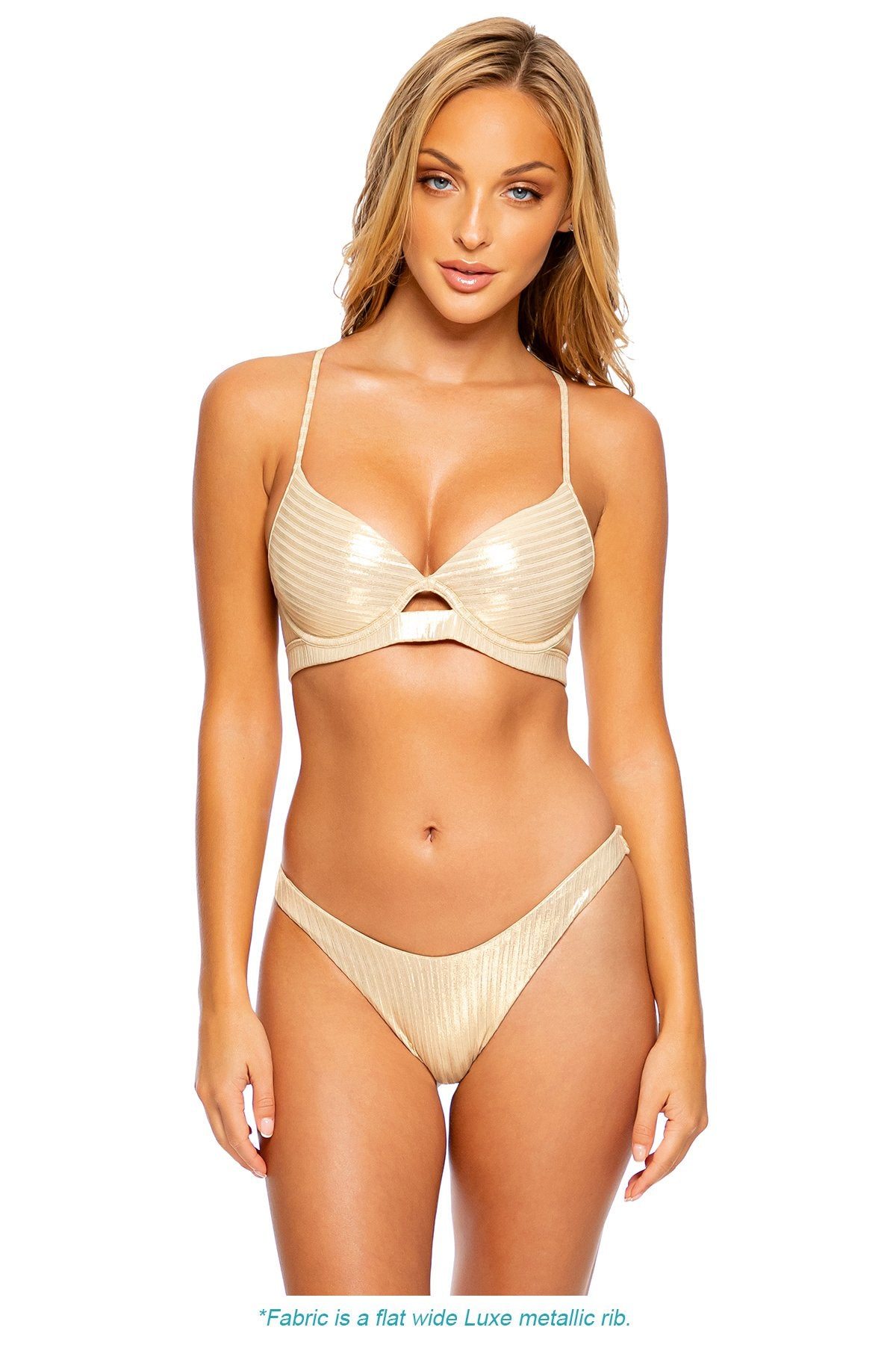GOLD DIPPED - Underwire Top & High Leg Brazilian Bottom • Gold Rush