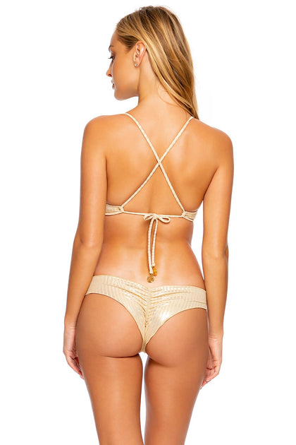 GOLD DIPPED - Bralette Top & Wavy Ruched Back  Bottom • Gold Rush