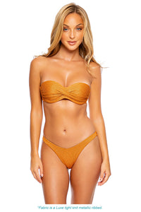 LULI DIVA - Underwire Push Up Bandeau Top & High Leg Brazilian Bottom • Bronze