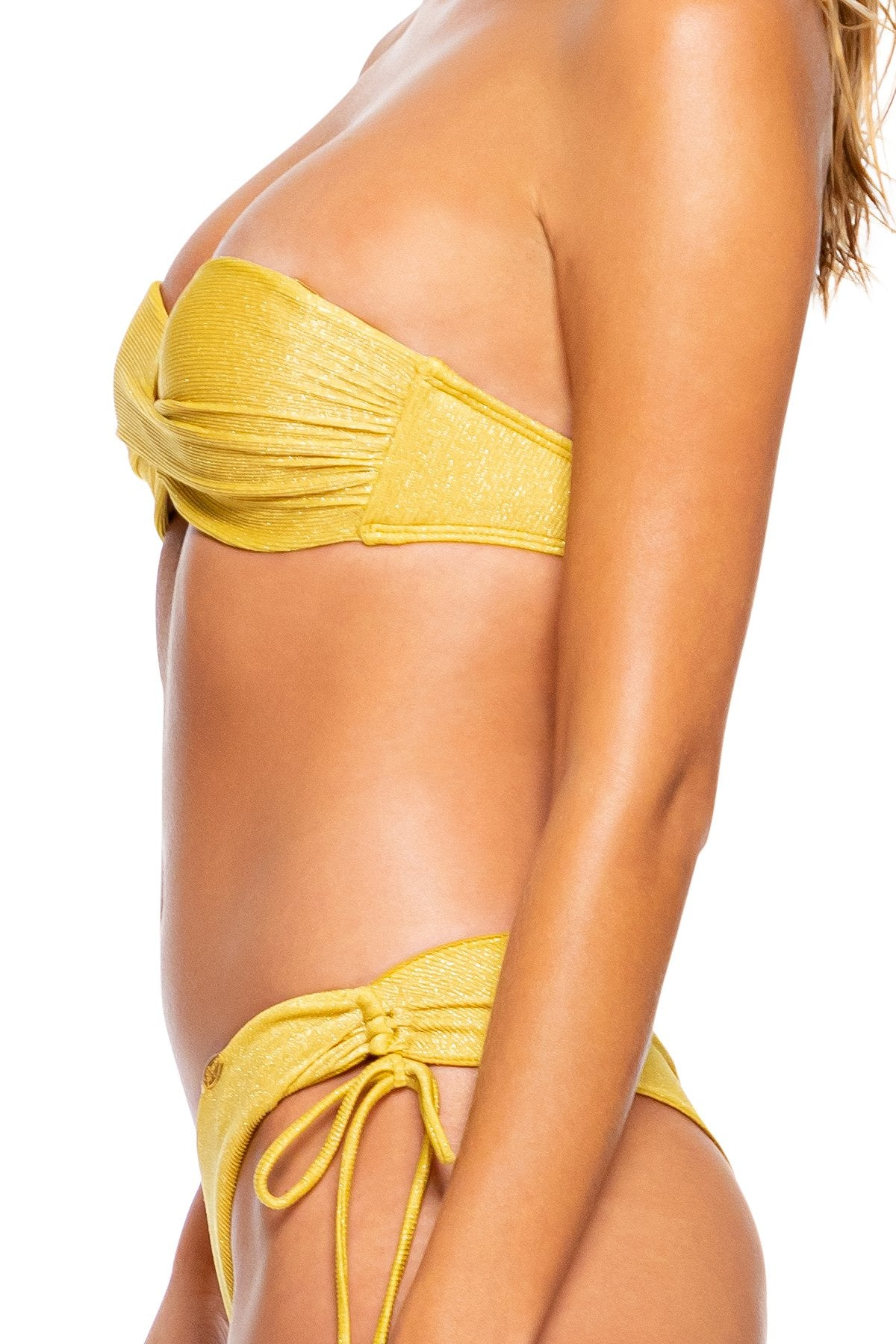 LULI DIVA - Underwire Push Up Bandeau Top & Drawstring Side  Bottom • Sunset Gold Runway