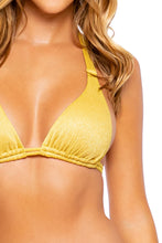 LULI DIVA - Triangle Halter Top & Seamless Full Ruched Back Bottom • Sunset Gold