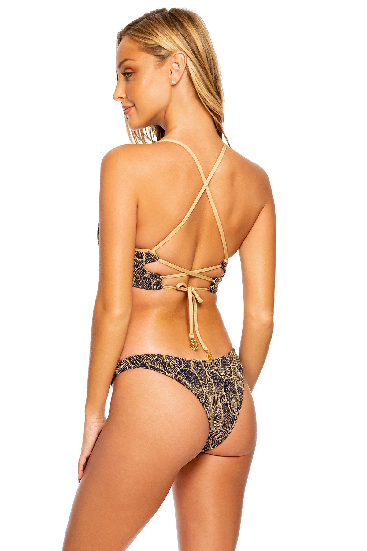 DREAMWEAVER - Underwire Top & High Leg Brazilian Bottom • Navy / Gold
