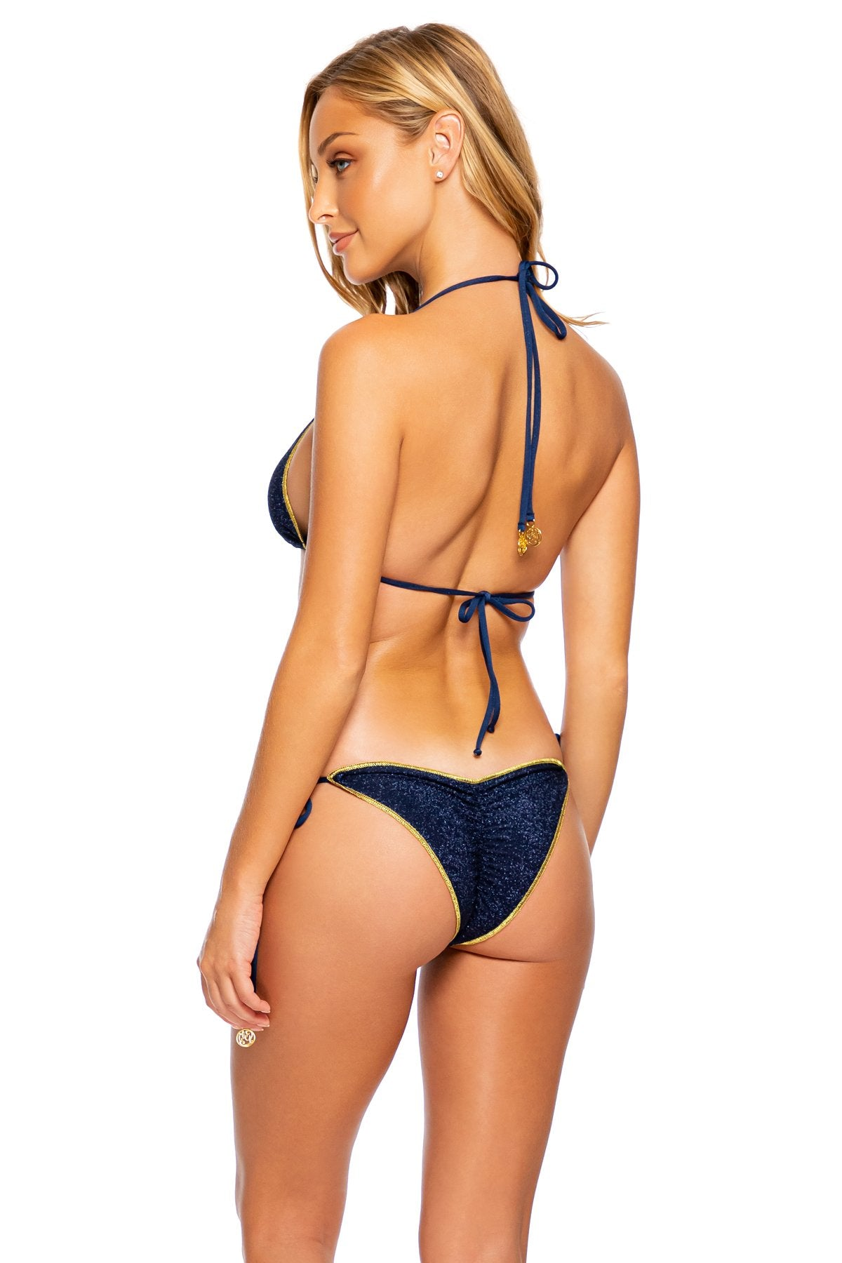 STARDUST - Triangle Top & Wavy Ruched Back Tie Side Bottom • Midnight Blue