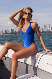 STARDUST - V Neck One Piece Bodysuit • Royal Blue