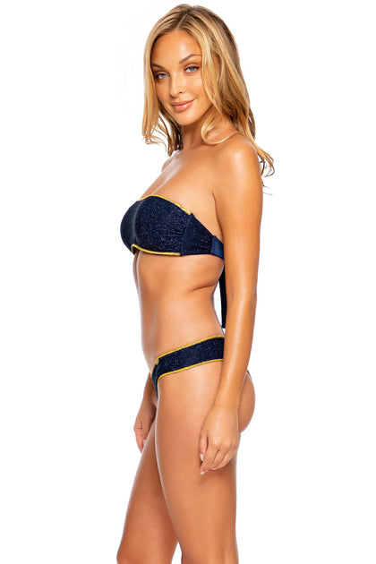 STARDUST - Free Form Bandeau & Seamless Wavy Ruched Back Bottom • Midnight Blue