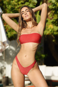 STARDUST - Free Form Bandeau & High Leg Brazilian Bottom • Red Digital Presentation