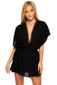 NIGHT DREAMER - Playera V Neck Dress • Black