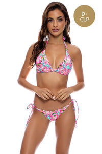 OCEAN DRIVE EUPHORIA - Triangle Halter Top & Wavy Ruched Back Full Tie Side Bottom • Multicolor