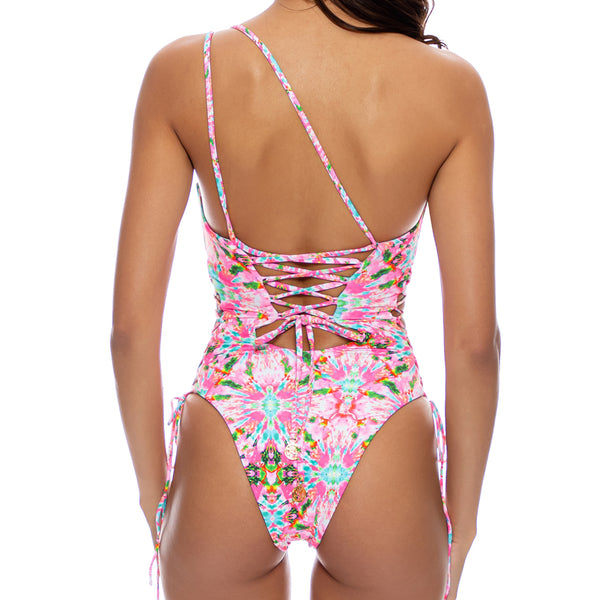 OCEAN DRIVE EUPHORIA - One Shoulder Lace Up Body Suit