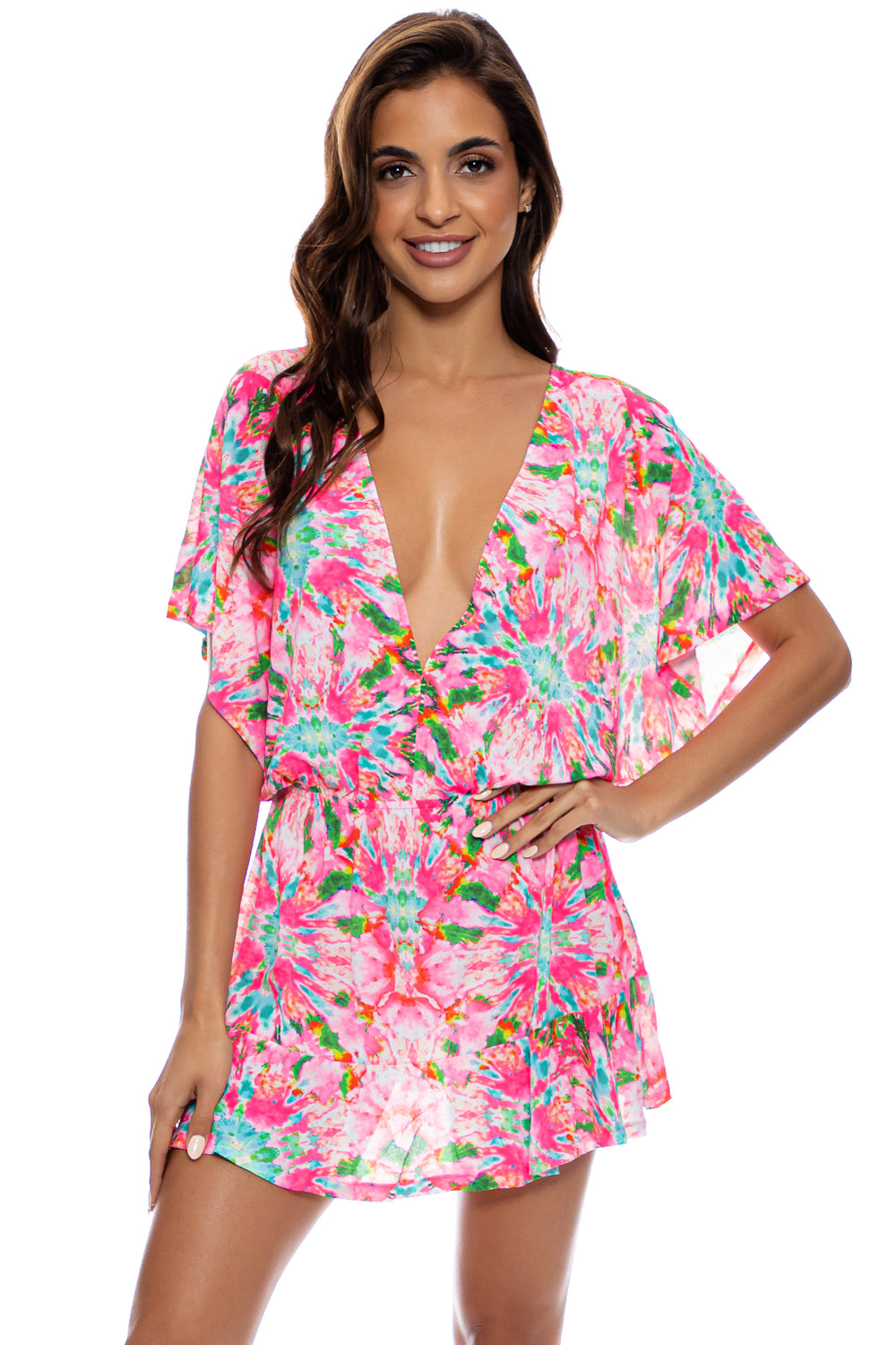 OCEAN DRIVE EUPHORIA - Playera V Neck Ruffle Dress • Multicolor