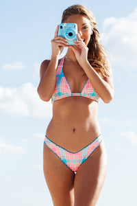 SOUTH BEACH VACAY - Wavy Triangle Halter Top & Wavy High Leg Ruched Back Brazilian Bottom • Multicolor Campaign