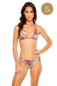 MIAMI BOUND - Triangle Halter Top & Seamless Full Ruched Back Bottom • Multicolor