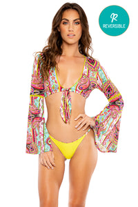 MIAMI BOUND - Stitched Bell Sleeve Crop Top & Brazilian Bottom • Multicolor