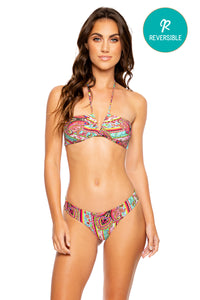 MIAMI BOUND - Ruched Halter Bandeau & Seamless Wavy Ruched Back Bottom • Multicolor