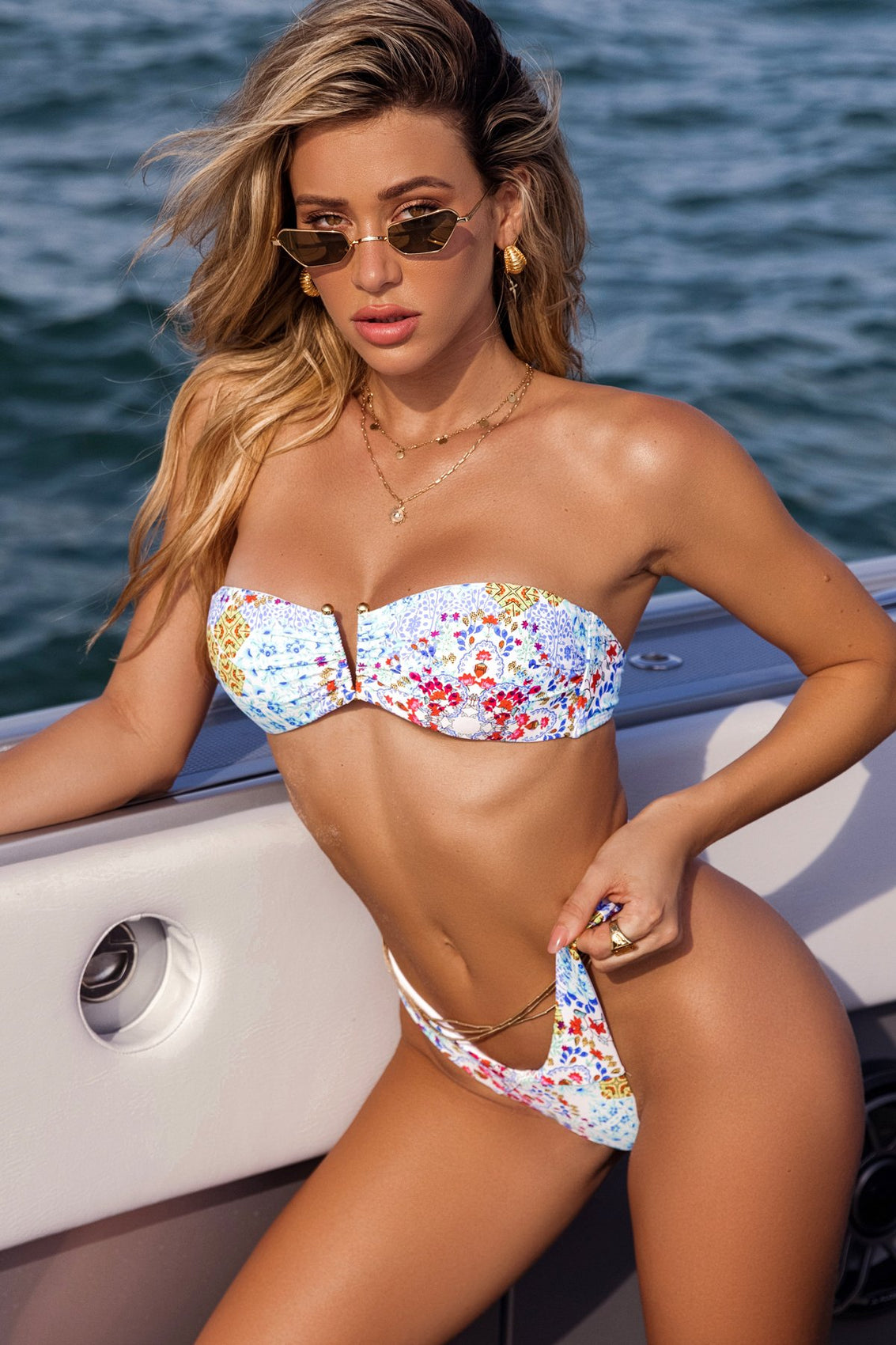 AY QUE CUTE! - Gold V Ring Bandeau Top & Tab Side High Leg Thong Bottom • Multicolor Campaign