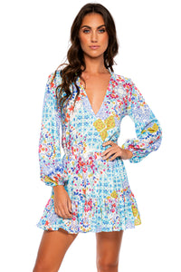 AY QUE CUTE! - Deep V Frill Hem Dress • Multicolor