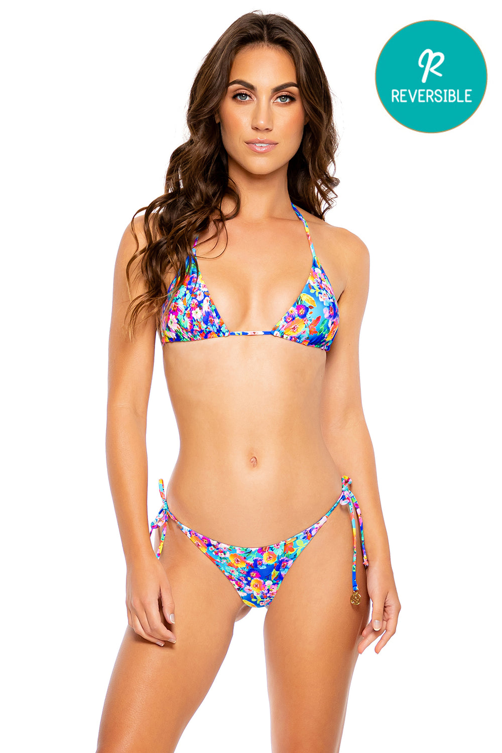 WATER BLOSSOMS - Triangle Top & Wavy Ruched Back Tie Side Bottom • Multicolor