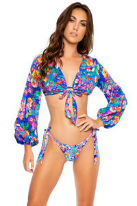 WATER BLOSSOMS - Tie Front Crop Top & Seamless Bow Tie Side Thong Bottom • Multicolor