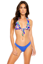 WATER BLOSSOMS - Ruffle Halter Top & Wavy Ruched Back  Bottom • Multicolor