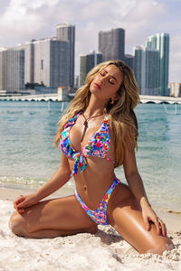 WATER BLOSSOMS - Ruffle Halter Top & High Leg Brazilian Bottom • Multicolor Campaign