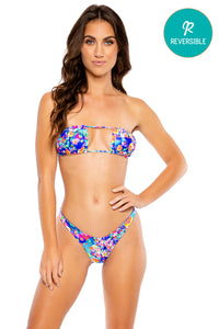 WATER BLOSSOMS - Multiway Scrunched Cup Bandeau & High Leg Brazilian Bottom • Multicolor