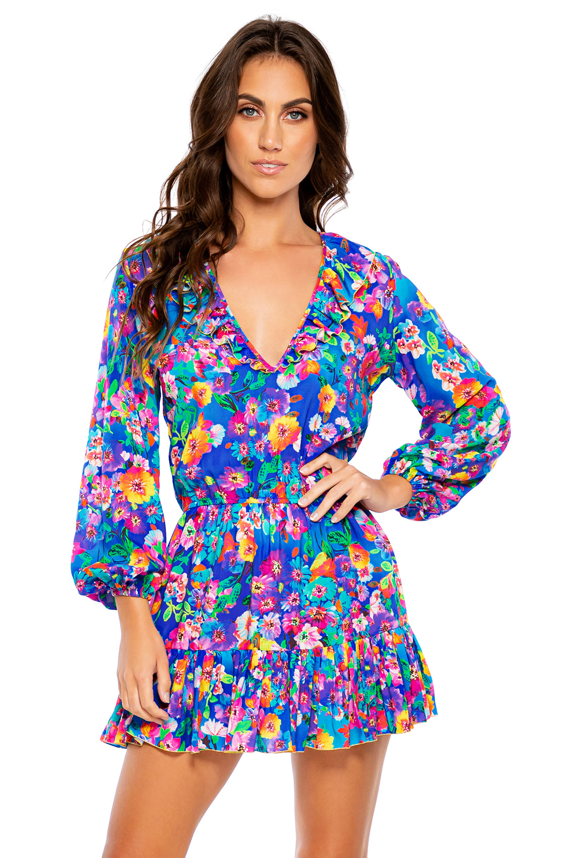 WATER BLOSSOMS - Ruffled Deep V Frill Hem Dress • Multicolor