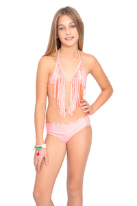 RAYITO DE SOL - Fringe Triangle Top Ruched Back Bikini • Pink Sunsets
