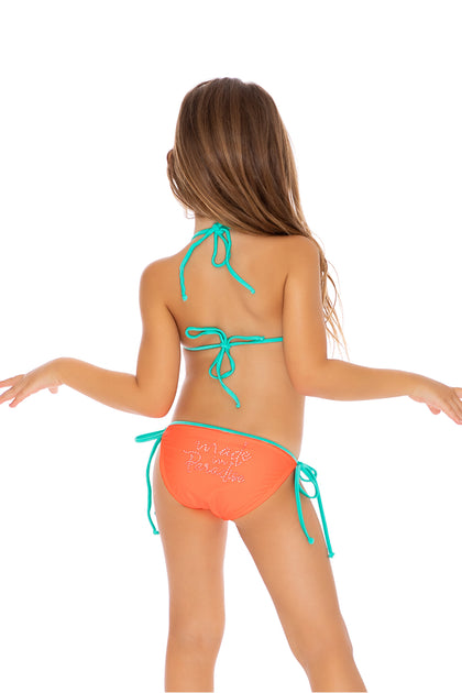 PARADISE - Crystallized Ruffle Triangle Tie Side Bikini • Hot Mess