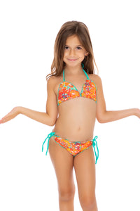 FIESTA DE FLORES - Wavey Triangle Top Ruched Back Tie Side Bikini • Multicolor