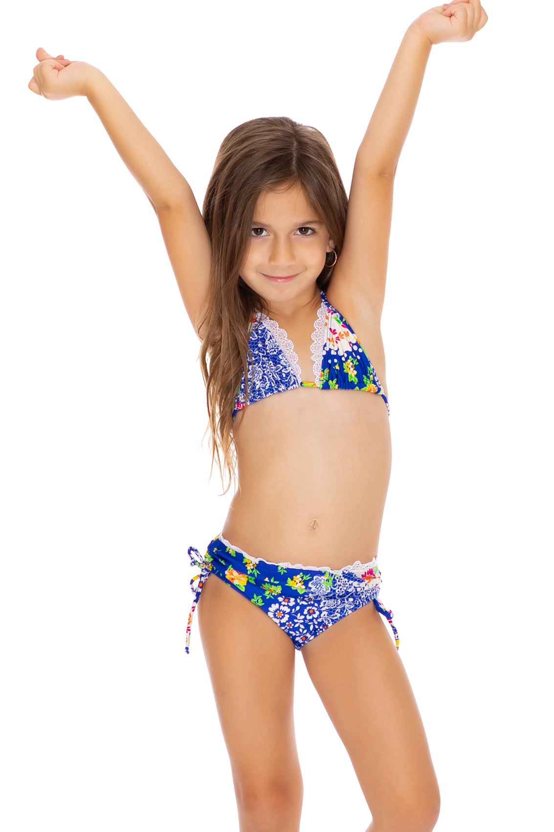 SPANISH LULLABY - Lace Trim Ruffle Triangle Top Bikini • Multicolor