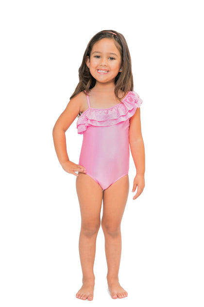 BON BON - One Shoulder Ruffled One Piece • Pin Up Pink