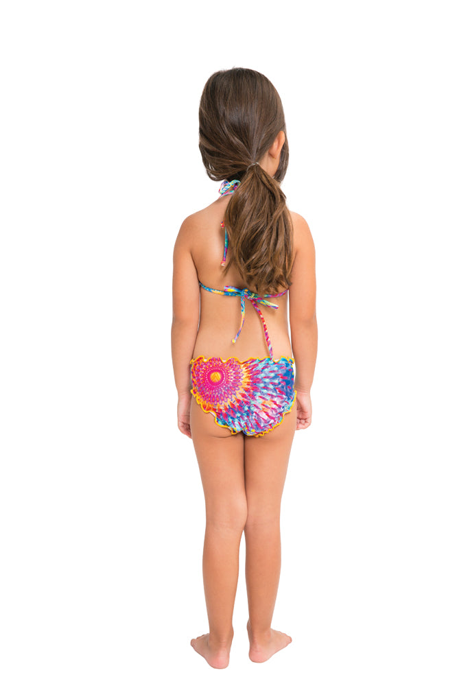 BAJO UN MISMO SOL - Wavey Triangle Top Ruched Back Bikini • Multicolor