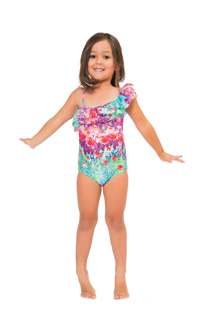 PEQUEÑO PARAISO T - One Shoulder Ruffled One Piece • Multicolor