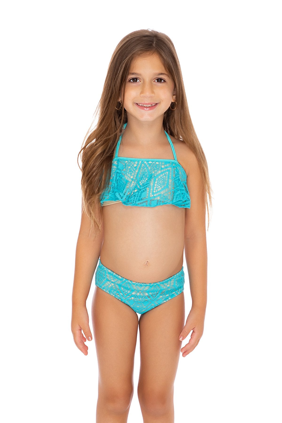 MIAMI NIGHTS - Cascade Halter Top Ruched Back Bikini • Aruba Blue