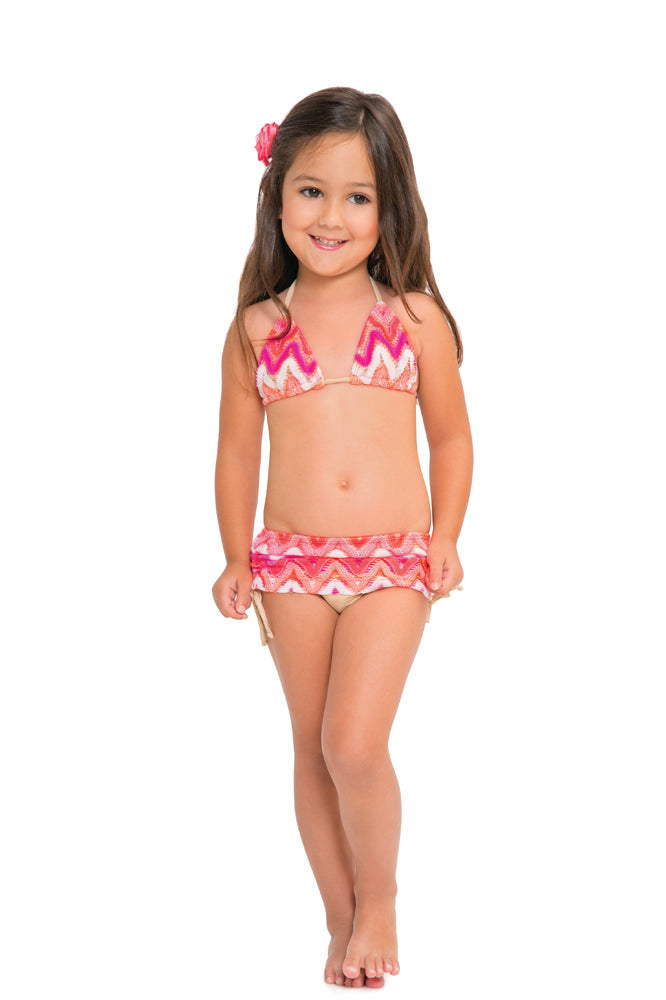FLAMINGO BEACH - Triangle Top Skirt Bottom Bikini • Multicolor