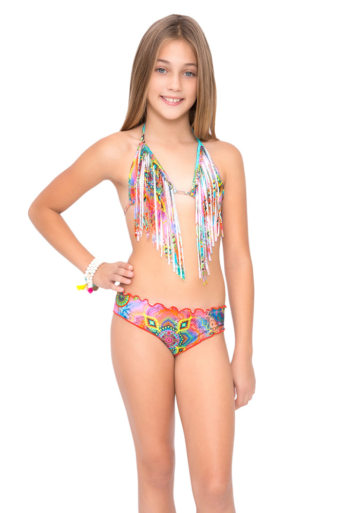 BOHO CHIC - Fringe Triangle Top Ruched Back Bikini • Multicolor