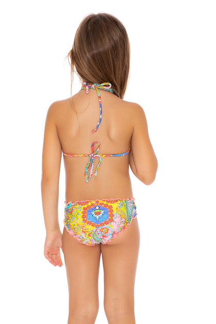 SIREN DANCE - Wavey Triangle Tops Ruched Back Bikini • Multicolor