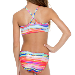 BELLAMAR - Reversible High Neck Top Ruched Back Bikini